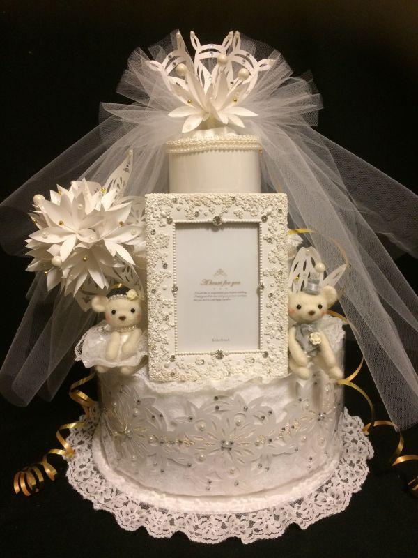 結婚祝いタオルケーキ・ラグジュアリーウェディングA・豪華3段!!ウェルカムベア付き